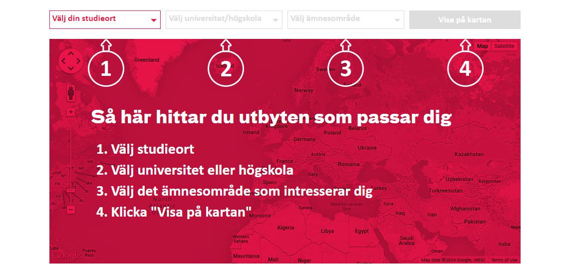 Skärmbild av sökfunktionen för Erasmus
